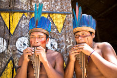 Native Brazilian guys playing wooden flute at an indigenous tribe in the Amazon Royalty Free Stock Photos