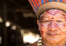 Native Brazilian man at an indigenous tribe in the Amazon.  royalty free stock photography