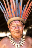 Native Brazilian man at an indigenous tribe in the Amazon Stock Images
