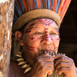 Native Brazilian man playing wooden flute at an indigenous tribe in the Amazon Royalty Free Stock Images