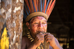Native Brazilian man playing wooden flute at an indigenous tribe in the Amazon.  royalty free stock photos