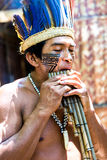Native Brazilian man playing wooden flute at an indigenous tribe in the Amazon Stock Photography