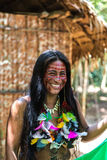 Native Brazilian woman at an indigenous tribe in the Amazon.  royalty free stock image