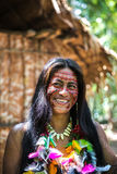 Native Brazilian woman at an indigenous tribe in the Amazon Stock Images