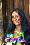 Native Brazilian woman at an indigenous tribe in the Amazon.  Royalty Free Stock Photo