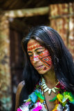 Native Brazilian woman at an indigenous tribe in the Amazon.  stock photo