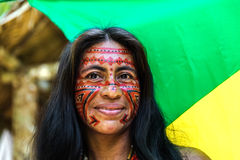 Native Brazilian woman at an indigenous tribe in the Amazon Royalty Free Stock Photography