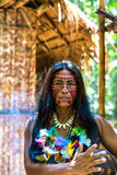 Native Brazilian woman at an indigenous tribe in the Amazon Stock Photography