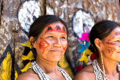 Native Brazilian women at an indigenous tribe in the Amazon.  stock images