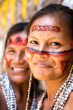 Native Brazilian women at an indigenous tribe in the Amazon.  royalty free stock photos