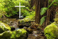 Native Bush Cross. White cross on a steam in native bush of New Zealand Stock Photo