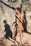 Native bushmen in Kalahari Desert, Namibia Stock Photography