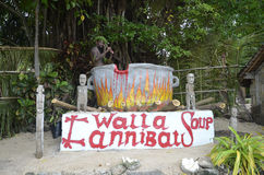 Native. Cannibal Soup. You can have your picture taken while you cook in this big pot on the island of Wala Vanuatu in the South Pacific.s Stock Photo