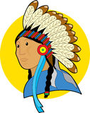 Native Chief. Native American cheif with head dress Stock Image