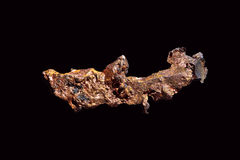 Native copper. Isolated on black background Stock Images