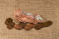Native Copper Nugget with Copper Pennies Stock Image