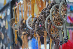 Native crafts and art beautiful dreamcatchers in market Royalty Free Stock Photo