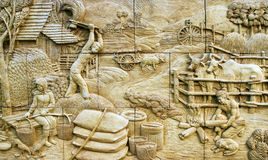 Native culture Thai stucco on the stone Stock Photo