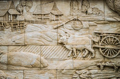 Native culture Thai stucco on the temple wall Stock Photo