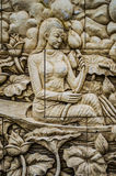 Native culture Thai stucco on the temple wall Stock Image