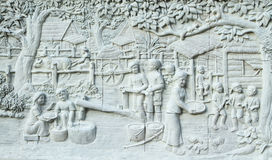 Native culture Thai stucco on the temple wall Royalty Free Stock Photo