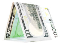 Native currency folded in half, money hut, banknote corner isolated Royalty Free Stock Photos