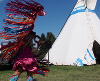 Native Dancer In Costume At Edmonton Heritage Days 2013 Royalty Free Stock Photo