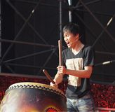 Native Drummer Performs in Taiwan Royalty Free Stock Image