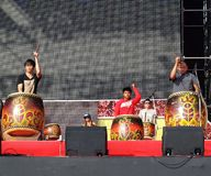Native Drummers Perform in Taiwan Stock Photo