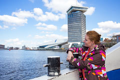 Native dutch woman on a ferry in Amsterdam Netherlands Stock Photos