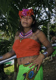 Native Embera Woman, Panama. Woman of the indigenous Embera people of Panama, dressed in the colorful native clothing, with tattoos made of plant ink, flowers in Stock Photography