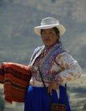 Native female blanket seller, Peru stock photo