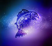 Native fish Vector. Isolated on spiritual abstract background Stock Photos