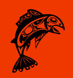 Native fish Vector. On orange background Stock Image