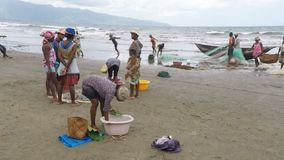 Native fishermen fishing on sea, woman selecting catched fish stock video