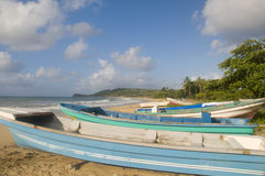 Native fishing boats beach corn island nicara Stock Image