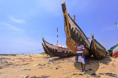 Native Ghanaian style boat Royalty Free Stock Photography