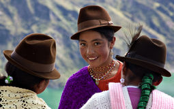 Native girls in Ecuador. Girls from the indigenous ethnic group of Kichwa, wearing traditional hats and colored clothes. The Quechuas - Kichwa people are more Stock Images