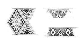Native graphic pattern hand draw illustration Stock Photos