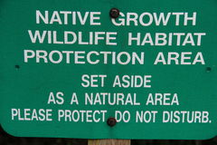 Native Growth Wildlife Habitat Protection Area Sign. Green Native Growth Wildlife Habitat Protection Area Sign Royalty Free Stock Images