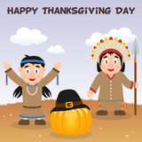 Native Happy Thanksgiving Day Card Royalty Free Stock Image