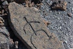 Native Hawaiian Petroglyph Carving. Replica of native Hawaiian petroglyph carving in a rock near Mauna Lani resort north of Kona on the big island of Hawaii Royalty Free Stock Images