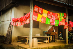 Native hill tribe do needlework Royalty Free Stock Photos