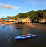 Native houses bye the sea, Sabah, Malaysia Royalty Free Stock Photo