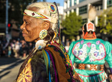 Native Indian American American woman. Alaska Airlines Seafair Torchlight ParadennSaturday, July 29, 2017n7:30pmnSeattle Center/DowntownnnEach year on one Royalty Free Stock Images