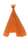 Native Indian American toy. Vintage Yellow plastic Native Indian American teepee toy isolated on white royalty free stock photos