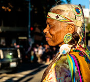 Native Indian American woman. Alaska Airlines Seafair Torchlight Paradenn1 of 6nSaturday, July 29, 2017n7:30pmnSeattle Center/DowntownnnEach year on one magical Stock Photos