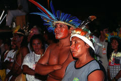 Native indian of Brazil. Participating in a meeting of the peoples of the Amazon rainforest stock photos