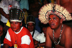 Native indian of Brazil. Participating in a meeting of the peoples of the Amazon rainforest stock image