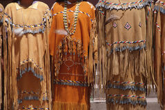 Native Indian Dresses. Native Americans dressed in ceremonial indian dresses stock image